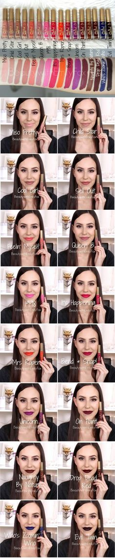 Color swatches of the top 10 best liquid lipsticks. Lip stain | Liquid lipstick | | Long lasting lipstick | Best lipstick | Kat Von D | Sephora | Lip gloss | Matte lipstick | Makeup | Red lipstick | Nude lipsticks | Cream lip stains | Satin lip stain | Ma
