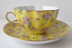 Royal Cotswolds Yellow Pink China Chintz Scalloped Tea Cup Saucer Floral Print.