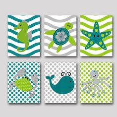 Sea Wall Art Whale Crab Octopus Baby Boy Nursery Art Nursery Wall Art Baby Nursery Kids Room Decor Kids Art set of 6 8x10 Gray Green Navy by artbynataera on Etsy