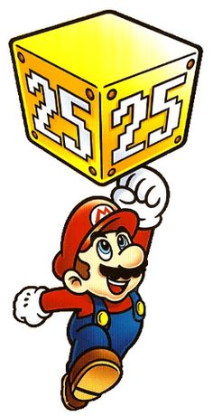 Mario punching a ceremonial 25 block from the official artwork set for #SuperMarioAllStars 25th Anniversary Edition on #Wii. #Mario #MarioBros http://www.superluigibros.com/wii-super-mario-allstars-25th-anniversary