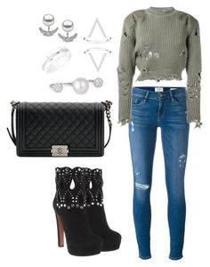 """""""Untitled #1618"""" by cecilia-rebecca-stagrum-buch on Polyvore featuring Alaïa, Chanel, Yoko London, Thomas Sabo, Frame and adidas Originals"""