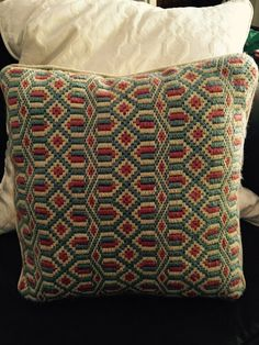 Geometric wool needlepoint pillow by JunkyardGenes on Etsy