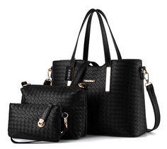 Tibes Art und Weise PU Leder Handtasche + Schultertasche + Geldbeutel 3pcs Beutel Schwarz