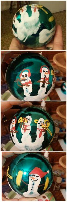 Fingerprint Snowmen Christmas Ornament