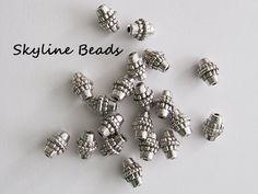 Bicone ShapeTibetan Style Beads Antique Silver by SkylineBeads, $3.25