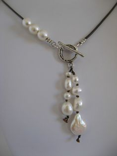 leather, freshwater pearl, sterling silver necklace: