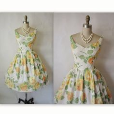 Reserved for Sunshine 50's Rose Print Chiffon by TheVintageStudio