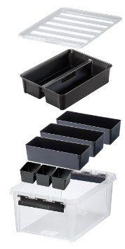 Hammarplast 3598090 Clipbox Smart Store Classic 15, 15 Liter Volumen mit 7 schwarzen Einsätzen