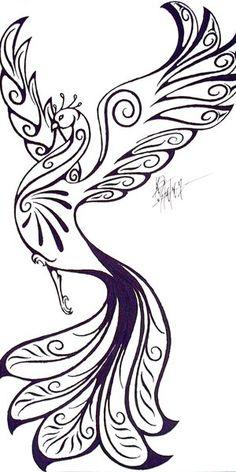 Phoenix by Sylver-Star-Shyne on DeviantArt Tribal Phoenix Tattoo, Phoenix Tattoo Design, Simple Phoenix Tattoo, Quilling Patterns, Quilling Designs, Henna Patterns, Feather Tattoos, Body Art Tattoos, Peacock Tattoo Men