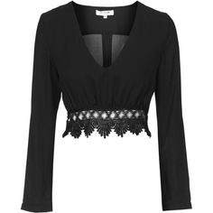 Monsoon - Black Lace Blouse by Wyldr ($37) ❤ liked on Polyvore featuring tops, blouses, crop tops, black, topshop blouses, topshop tops, crop blouse, lace tops and lacy tops