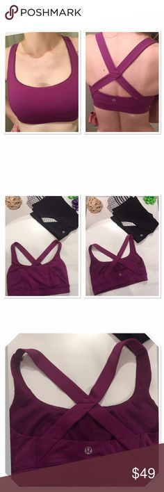 Lululemon shape me purple dewberry bra Lululemon criss cross shape me bra- color purple/dewberry. Condition- like new (too small for me) size S( about 2-4) has pockets for pads, if needed (pads are not included) I discovered it is not see through even without pads. Great support, breathable material, lulu quality can't be beat.  lululemon athletica Intimates & Sleepwear Bras