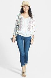 Caslon® Peasant Top & KUT from the Kloth Skinny Jeans