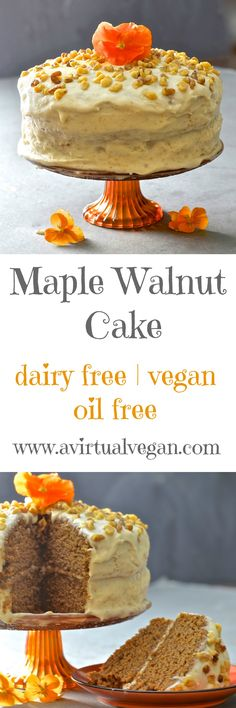 Tender, moist nutty sponge sandwiched together with creamy maple infused frosting. Completely dairy, egg & oil free yet perfectly sweet & decadent, this maple walnut cake is total perfection! Vegan Dessert Recipes, Dairy Free Recipes, Baking Recipes, Delicious Desserts, Vegan Treats, Vegan Foods, Gateaux Vegan, Walnut Cake, Maple Walnut