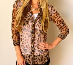 Camille Cheetah Print Button Down, $18.99