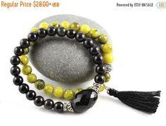 Black Tourmaline Bracelet, Gemstone Stretch Bracelet, Yellow Turquoise, Yoga Bracelet, Tassel Jewelry, Mala Bracelet, Wrist Mala, Yoga Style