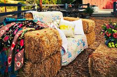 Sofa Haybales - rustic alternative to traditional outdoor wedding seating