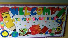 September welcome back to school bullitin board - bulletin boards - Display Board Design, Bulletin Board Design, Art Bulletin Boards, Back To School Bulletin Boards, Preschool Bulletin Boards, Back To School Displays, Display Boards For School, Welcome Chart For School, Class Board Decoration