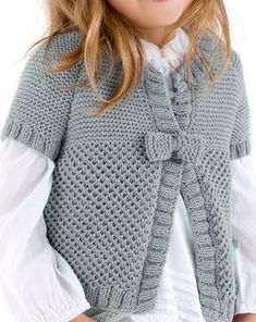 Beautiful knitted vest for girl Cardigan Pattern, Baby Cardigan, Crochet Cardigan, Knit Crochet, Knitting For Kids, Baby Knitting Patterns, Cardigan Design, Baby Dress Design, Knit Baby Sweaters