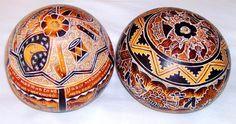 Manta Ecuador carved gourds....   Ecuador   Pinterest