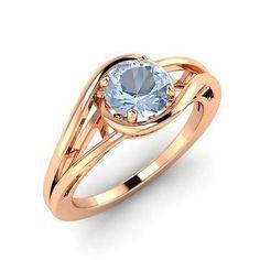 0.51 Carat Natural AAA Aquamarine Solitaire Engagement Ring in 9k Rose Gold - Genuine Gemstone