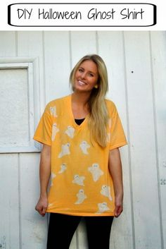 #DIY #Halloween ghost shirt using Rit Dye and Elmer's Glue! Perfect for a quick costume!
