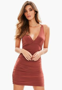 0896b3d57f98 Brown Slinky Cross Back Ruched Side Bodycon Dress | Missguided