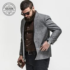 Gelisen Brand 2015 New Arrival Men Blazers Mens Suit Jackets Casual Suits Jacket Mens Slim Fit Blazer Plus Size - Men Suits - Ideas of Men Suits Business Mode, Business Casual Men, Mode Masculine, Men's Suits, Big Mens Suits, Plus Size Mens Suits, Plus Size Mens Clothing, Big And Tall Style, Casual Suit Jacket
