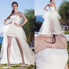 Find More Wedding Dresses Information about High Low Bridal Gowns White Tulle Simple Design Strapless Vestido De Novia Short in Front Long in Back Off Shoulder Weddings ,High Quality Wedding Dresses from Meeting Mr White Wedding Custom Store on Aliexpress.com