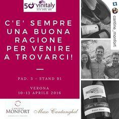 #Repost @cantine_monfort  #Vinitaly2016 Mancano meno di due settimane all'apertura ufficiale del 50mo Vinitaly! Dal 10 al 13 aprile vi aspettiamo al nostro stand per brindare in compagnia! Pad. 3 - Stand B1 #Monfort #masocantanghel #uniticonpassione #dinamiciperscelta #winelovers #vinitaly #Verona #Trentodoc #vinotrentino #gustotrentino #donnedelvino #winetasting
