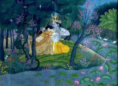 Radha and Krishna in the Grove, circa 1780, opaque watercolour on paper, 13 x…