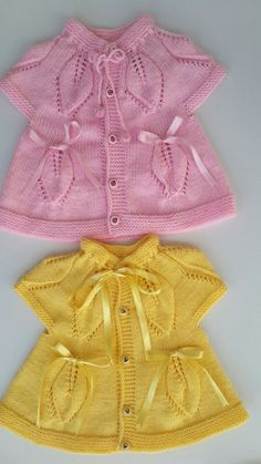 baby vest knit baby dress knitted baby dress by KnittingAndYarns