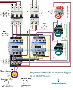 Forward and receive contactor wiring Electrical Panel Wiring, Electrical Circuit Diagram, Electrical Projects, Electrical Installation, Electronic Engineering, Electrical Engineering, Electric Motor Generator, Ac Circuit, Power Energy