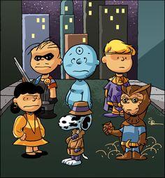Artwork by Evan Shaner. Watchmen / Peanuts.