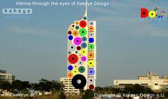 Hochhaus Neue Donau Wien, Vienna in Dots Design / Photo © Kekeye Design e.U. Vienna, Wind Chimes, Dots, Outdoor Decor, Blog, Design, Home Decor, Stitches, Decoration Home