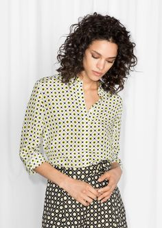 & Other Stories image 1 of Silk Shirt  in Flower Grid Print