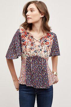 Faithe Lace-Up Floral Blouse - anthropologie.com