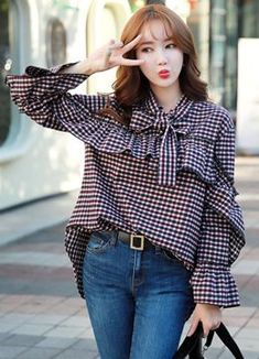 Gingham Print Ribbon Tie Ruffle Blouse, Styleonme Source by zeekanarie Hijab Fashion, Korean Fashion, Fashion Dresses, Women's Fashion, Girl Outfits, Casual Outfits, Sleeves Designs For Dresses, Stylish Dresses For Girls, Urban Chic