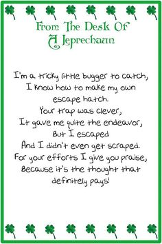 Letter From The Leprechaun  St PatrickS Day Ideas