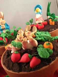 Peter Rabbit mini cake toppers - Made by Cakicature, Canberra Australia https://www.facebook.com/cakicature