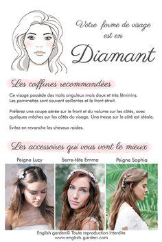 Conseils astuces coiffure Visage diamant   #wedding #hair #beauty #bride