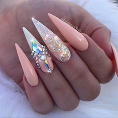 Peach Glitter Bling Stiletto Nails by MargaritasNailz #stilettonails
