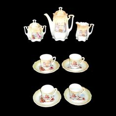 TEDDY BEARS c1905 Early German Porcelain Childs Coffee Set Tea Party from childhoodantiques on Ruby Lane
