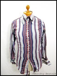 Vintage 1970s 70s Psychedelic Pattern Disco Wing Collar Shirt S-M   eBay