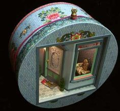 Wow this takes my breath away. Do you not want to sit down in that chair? Wow this takes my breath away. Do you not want to sit down in that chair? Vitrine Miniature, Miniature Rooms, Miniature Crafts, Miniature Houses, Miniature Furniture, Dollhouse Furniture, Altered Boxes, Altered Art, Diy Dollhouse