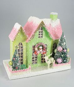 love the snow on the roof!  Cody Foster Christmas House - Green and Salmon Pink
