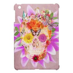 Girly Sugar Skull cute Butterfly Pink Flowers Cover For The iPad Mini
