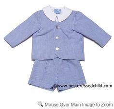 Gordon & Co. Boys Dressy Eton Suits with Shirt - Seersucker - NAVY Blue