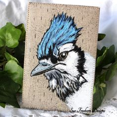 """BLUE JAY in the RAIN Stitched Fabric Mini Art Quilt/Postcard/Greeting Card, Textile Art, Fiber Bird Art, Hand-painted & Quilted 4"""" x 6"""""""