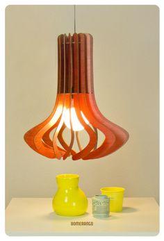Red Wood Lamp - Octo M by Bomerango