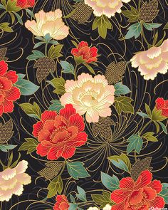 Japanese Import – Hana Zukushi – Peonies – Black/Gold – Quilt Fabrics from www. Japanese Textiles, Japanese Patterns, Japanese Prints, Japanese Fabric, Japanese Floral Design, Japanese Flowers, Motif Floral, Art Floral, Floral Patterns